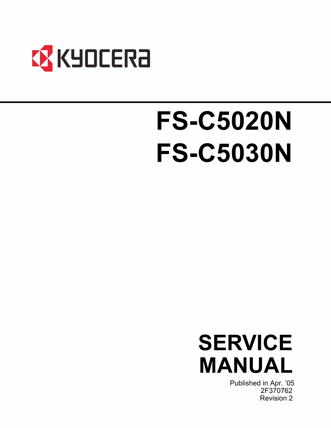KYOCERA ColorLaserPrinter FS-C5020N C5030N Parts and Service Manual-1
